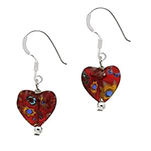 Sterling Silver .925 Murano Glass Red Bead Millefiori Heart Dangle Earrings