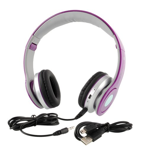 {Factory Direct Sale} Hi-Tech Usb Wireless Bluetooth A2Dp Stereo Headphones Headset At-B802 For Mobile Mp3 Mp4 Tablets Pc Fm - Purple