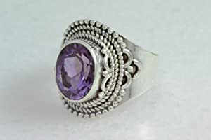 GORGEOUS AMETHYST STERLING SILVER JEWELRY HANDMADE RING SIZE 5.5 AR1469
