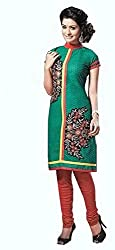 Pehnava Women's Cotton Unstitched Dress Material (HB042302_Green_Free Size)