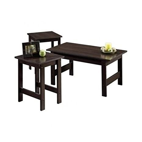 3 Piece Coffee Table Set Cinnamon Cherry Living Room Furniture 2 End Tables
