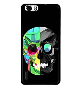 Colourful Skull 2D Hard Polycarbonate Designer Back Case Cover for Huawei Honor 6