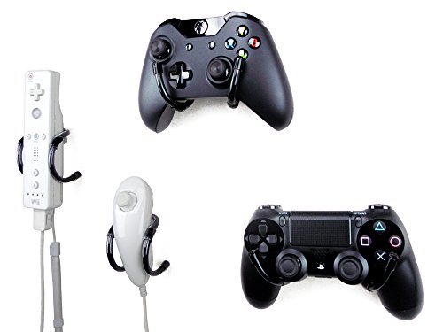 Wall Clip - Xbox, PlayStation, Wii, and Retro Game Controller Organizer - 4 Pack, Black (Video Console Organizer compare prices)