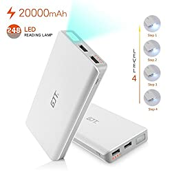 CHKOKKO GJT dual charging Power Bank with Torch Light White