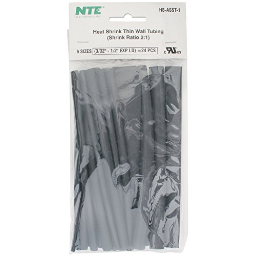 Nte Heat Shrink 2:1 Black Assorted Sizes 6 24 Pcs.