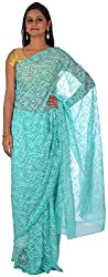knool Women's Georgette Saree With Unstitched Blouse Piece (Sea Green) (CGSTPF01)