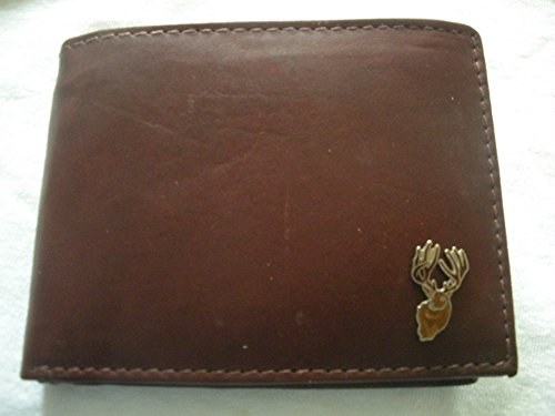 Deer Hunting/Deer Hunter'S Bi-Fold Calf'S Skin Men'S Italian Leather Wallet