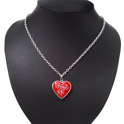 Silver Plated Red 'Heart' Locket Pendant Necklace - 44cm Length/ 4cm Extension