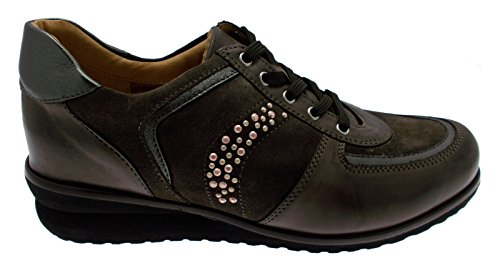 art C3675 lacci pelle camoscio tortora torba plantare anatomico sneaker scarpa donna 40 tortora