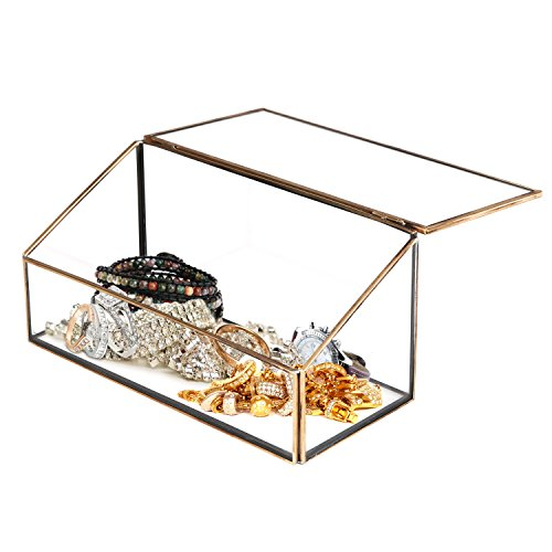 Decorative Clear Glass & Brass Tone Metal Slanted Top Lid Shadow Box Jewelry Chest / Storage Display Case