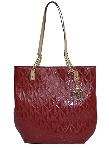 Michael Kors Leather Jet Set Ns Chain Tote Shoulder Bag Handbag Purse, Scarlet