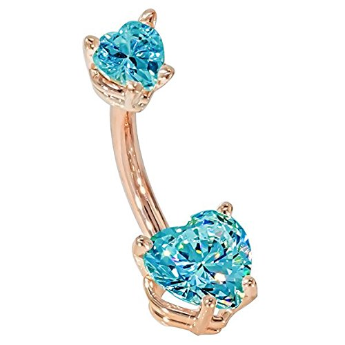 "FreshTrends 14G 3/8"" - Petite Hearts Light Blue CZ Solid 14KT Rose Gold Belly Bar Ring - (March)"