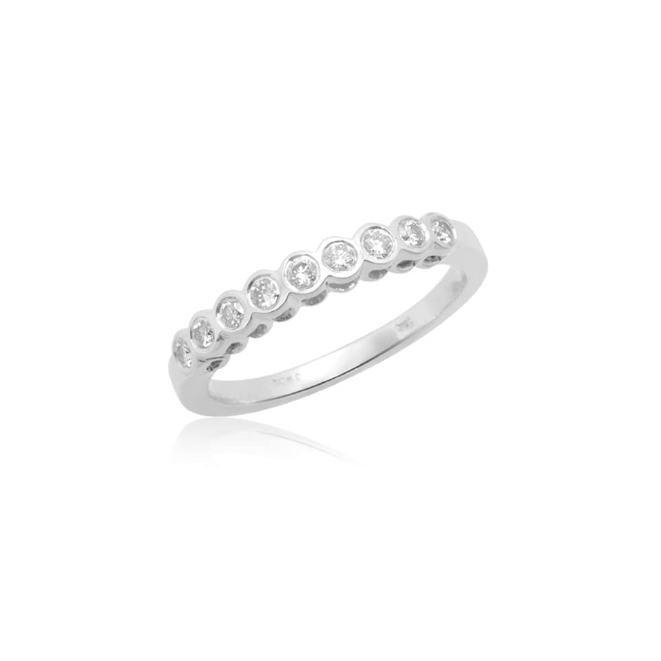 10k White Gold Bezel Set Round Diamond Anniversary Stack Ring (1/4 cttw, H I Color, I2 Clarity), Size 4
