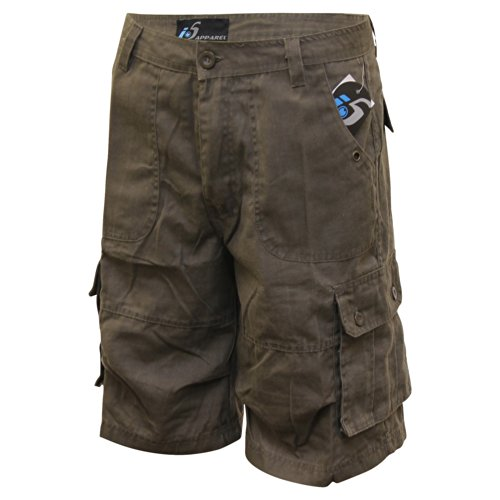 i5 Men's Corded Canvas Cargo Shorts (Charcoal, 36)