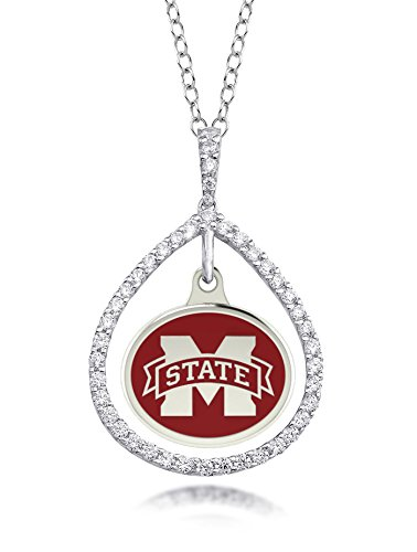 Mississippi State Bulldogs Sterling Silver, Cz And Enamel Charm Tear Drop Necklace