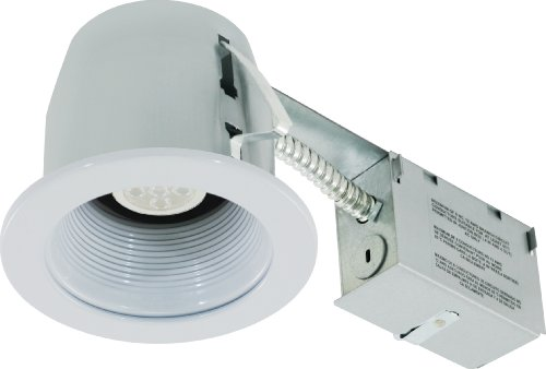 Liteline Rc402C01-Led-Ew-Wh All-In-One 4-Inch Led Recessed Combo With Remodel Housing, 6W Led Par16 Lamp, Baffle Trim, White