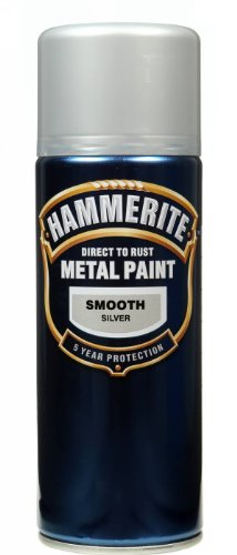 Hammerite Direct to Rust Metal Paint Aerosol Smooth Silver Finish 400ML