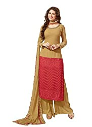 YOUR CHOICE Georgette Green Embroideried Women's Straight Suit FLD1004