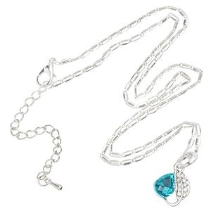 niceeshop(TM) Kristall Juwel Silbern Blätter Wassertropfenförmig Anhänger Modern Halskette-Meerblau