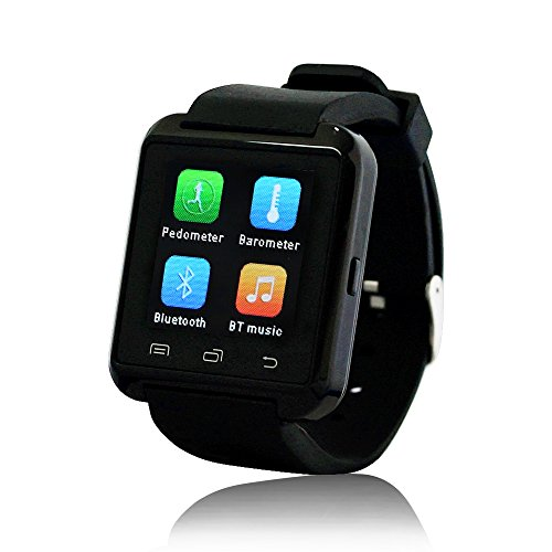 Yuntab Mobile U8 Watch SmartWatch Bluetooth 3.0 Silicone Wristband for Apple iOS smartphone iphone 4 / 4S / 5 / 5C / 5S / 6 Android Samsung S2 / S3 / S4 / Note 2/3 Note HTC Nokia (Black)