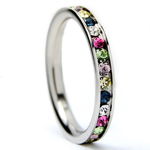 3MM Stainless Steel Eternity Ring with Rainbow Color Cubic Zirconia Crystals Size 4