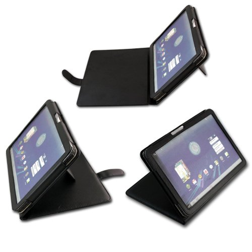 pyrus Electronics (TM) Premium Faux Leather Flip Carry Case With Adjustable Stand For The Motorola Xoom 10.1 inch tablet (3G & 4G WI-FI 16 GB 32 GB 64 GB) - Google Android 3.0 Honeycomb Black