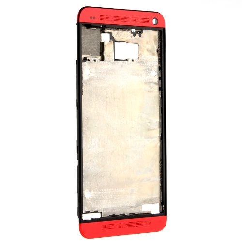 Original Red Bezel Frame Case Lcd Plate+Top+Bottom Earpiece Cover For Htc One M7