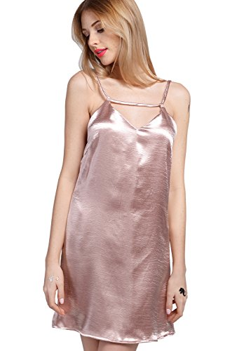 Wink Gal Women's Nightshirts Satin Chemises Slip Dress Sleepwear Rose L