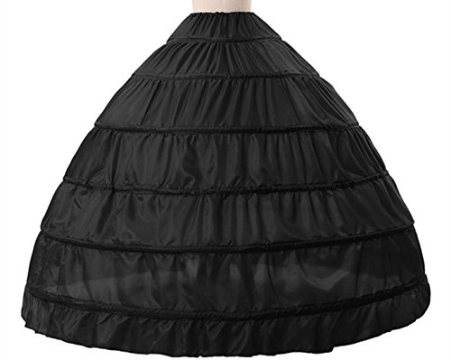 Anna Sexy A-line 6 Hoop Floor-length Bridal Dress Gown Slip Petticoat (One Size, Black) (Petticoat Junction Season 4 compare prices)