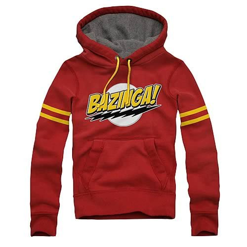 Big Bang Theory Comic Lightning Bolts Bazinga Hoodie, Red, Large
