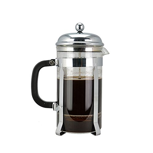 French Press Coffee Tea and Espresso Maker,Makes 8 Cups (4 Mugs) ,Best Coffee Press Pot with Stainless Steel and Double Screen System Filters ,Chrome
