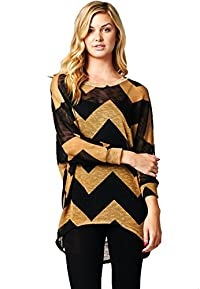 LeggingsQueen Women's Dolman Sleeve Chevron Printed High-Low hem Tunic Top