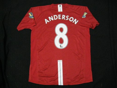 08-09 MANCHESTER UNITED HOME JERSEY ANDERSON + FREE SHORT (SIZE M)
