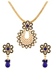 Voylla Golden Pendant Set With Chain Blue Floral White