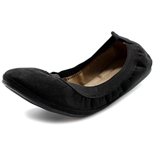 Ollio Women's Shoe Faux Suede Comfort Ballet Flat (10 B(M) US, Black)