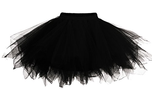 DJT - Mini Gonna in Tulle svasata tinta unita - Donna Nero Large