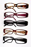 Spring Hinge Plastic Reading Glasses (5 Pairs), Includes Sunglass Readers, +1.50