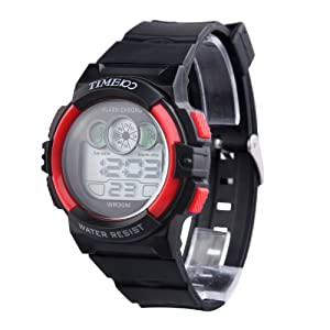 TIME100 Multifunction PU Strap Red Bezel Sport Electronic Watch #W40024M.03A