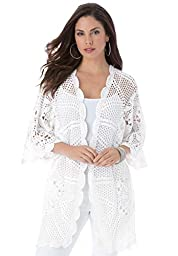 Roamans Women\'s Plus Size Hand-Crocheted Lace Cardigan White,1X