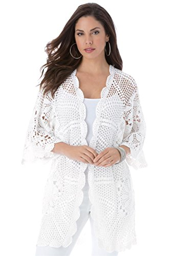 Roamans Women's Plus Size Hand-Crocheted Lace Cardigan White,2X