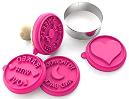 Silicandy Cookie Stamp Molds - 4/6 Set - Great for Activities with Kids - Themes are Get Well Soon / Royal Princess / Social Media Tween / Spread the Love - Silicone Kit for Homemade Cookies [Pink]
