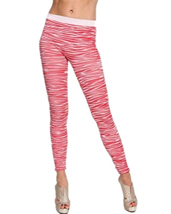 G2 Chic Women's Print Thick Ribbed Leggings(BTM-LEG,RED-OS)