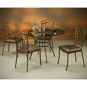 Pastel Westport 5 Piece 48 Inch Round Glass Dining Room Set In R