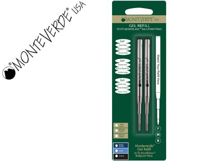 Monteverde - Cartuchos de tinta para bolígrafo (punta M, 2 unidades), color negro
