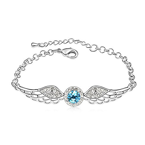 Drunk Wind Hollow Out The Wings Of The Angel Gem Stone Silver Happiness Bracelet Blue