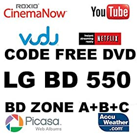 LG BD550 Blu Ray Zone A+B+C / DVD Region 012345678 PAL/NTSC All Zone Multi Region Code Free DVD BLU RAY Player work on all USA TVs 100% Guaranteed. 100~240V 50/60Hz out of the box (Free HDMI Cable)