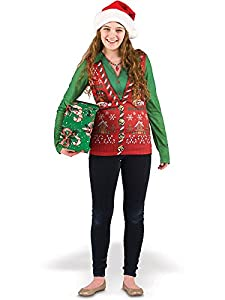 Faux Real Women's Ugly Xmas Sweater Vest Long Sleeve T-Shirt by Faux Real Womens Child Code