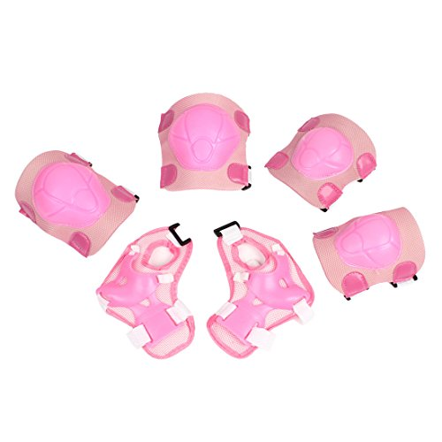 Pink Sports Protective Gear Knee Elbow Wrist Support Pad Set for Children - 1