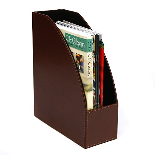 C.R. Gibson - Brown Bonded Leather Magazine Holder MDF (MMH-11546)
