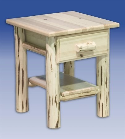 Log Nightstand with Drawer - Unfinished
